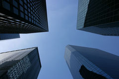 Glass skyscrapers in the financial district stock photos
