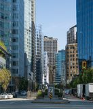 City view of downtown skyscrapers in Vancouver Canada stock images