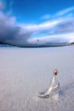 Glass Slipper On Snow Covered Golf Fairway Stock Photo
