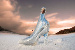 Glass slipper on white snow covered golf course Royalty Free Stock Photography
