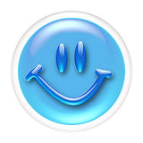 Glass Smile icon or button Stock Image