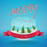 Glass Snow Ball with falling candies and merry. Christmas greeting. Vector illustration for card, flyer, artwork, poster, banner Stock Photo
