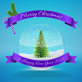 Glass Snow Ball with xmas tree, merry christmas. And happy new year greeting. Vector illustration for card, flyer, artwork, poster, banner Stock Photography