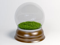 Glass snow globe with green grass inside Isolated on white background. Royalty Free Stock Images
