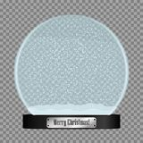 Glass snow globe. Realistic snowglobe ball with flying snowflakes isolated on transparent background. Vector. Glass snow globe. Realistic snowglobe ball with Stock Image