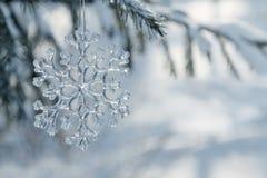 Glass snowflake on a Christmas tree. stock images