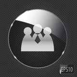 Glass social network button icon on metal. Background. Vector illustration royalty free illustration