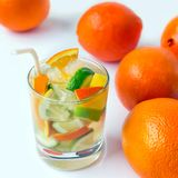 Glass of soda  drink with slices of lemon, orange and lime  on a Stock Photo