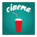 A glass of soda in a flat style. Vector illustration. Cinema Stock Photo