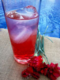 Glass  with soda and flowers Stock Images