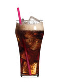 Glass of soda with ice an pink straw Royalty Free Stock Photography