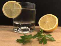 A glass of soda, mineral water and lemon slice on the wooden cutting board with black background. Royalty Free Stock Image