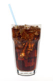 Glass of soda with straw. Glass of soda with a straw against white Stock Photography