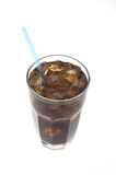 Glass of soda with straw. Glass of soda with a straw against white viewed from top Stock Photography