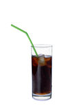 Glass of soda. With a straw on a white background Stock Photo