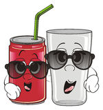 Glass and soda tin are friends Stock Images