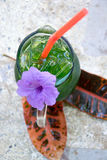A glass of soda water and green foliage overlaid on a marble tab Royalty Free Stock Photo