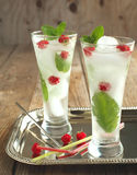 Glass of soda water with mint and raspberry Stock Photos