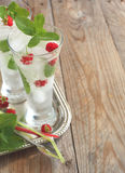 Glass of soda water with mint and raspberry Stock Photography