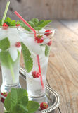 Glass of soda water with mint and raspberry. Glass of soda water with mint and fresh raspberry Royalty Free Stock Photography