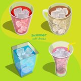 All soft drinks. Glass of soft drinks for summer,ice and beverage,fresh,multi colour Stock Images
