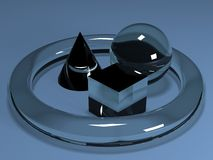 Glass Solids. Glass solid shapes resembling a cone, a torus, a cube and a sphere Stock Image