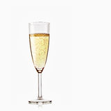 Glass of sparkling champagne. On white background Stock Images