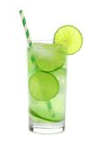 Glass of sparkling limeade isolated on white. Glass of sparkling limeade with straw isolated on a white background Royalty Free Stock Image