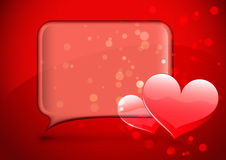 Glass speech bubble with hearts Royalty Free Stock Photo