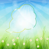 Glass speech bubble ob nature background. Stock Images