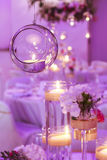 Glass sphere with candle inside. Wedding decoration. Stock Photography