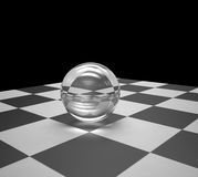 Glass sphere on a chessboard Stock Photos