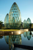 Glass sphere construction. The landmark of glass sphere architecture with reflection Royalty Free Stock Photos