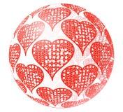 glass sphere för hjärtaprydnadred Royaltyfri Foto