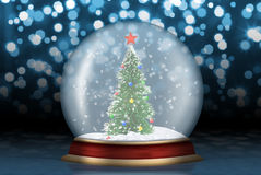 Glass sphere with fir-tree abstract background. Glass sphere. Christmas scenery created by means of computer technology Royalty Free Stock Photo