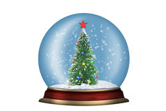 Glass sphere with fir-tree isolated Royalty Free Stock Image
