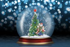 Glass sphere with fir-tree and santa. Glass sphere. Christmas scenery created by means of computer technology Royalty Free Stock Images
