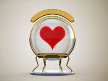 Glass sphere with a heart in a gold frame on a stand with a clean sign  Stock Images