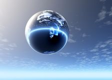 Glass sphere highly in the sky Royalty Free Stock Photos
