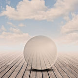 Glass sphere. Pier with glass sphere on sunset Stock Images