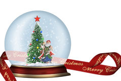 Glass sphere with ribbon isolated. Glass sphere. Christmas scenery created by means of computer technology Royalty Free Stock Photography