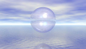 Glass sphere on water Royalty Free Stock Photography