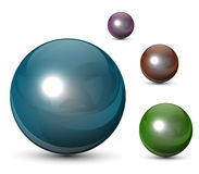 Glass spheres. 3D glass spheres,  balls vector set Stock Images