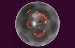 Glass spherical ball 3D rendering. Isolated on a purple background royalty free illustration