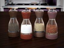 Glass spice grinders set standing on wooden table. 3D illustration.  vector illustration