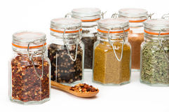 Glass Spice Jars Royalty Free Stock Images