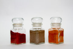 Glass spice jars Stock Photo