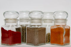 Glass spice jars Royalty Free Stock Photography
