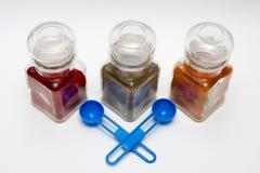 Glass spice jars Stock Image