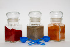 Glass spice jars Royalty Free Stock Photos